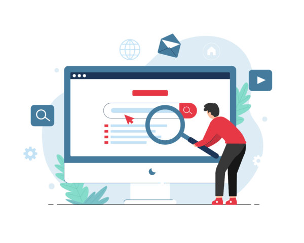 Search engine concept with people holding magnifying glass illustration