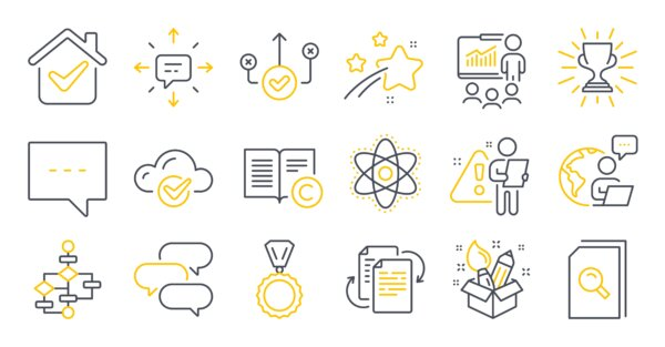 Set of Education icons, such as Medal, Cloud computing, Sms symbols. Block diagram, Presentation, Bureaucracy signs. Correct way, Copyright, Talk bubble. Search files, Trophy, Blog. Vector