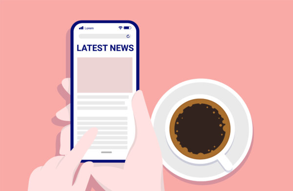 Reading news on phone while drinking coffee - Hands with smartphone scrolling web. Morning routine and latest news concept. Vector illustration.